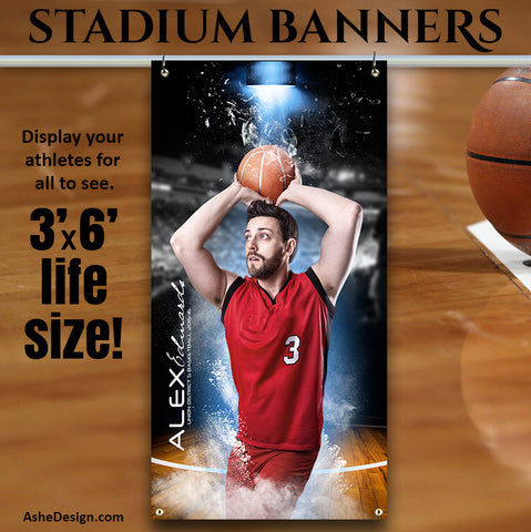 Ashe Design | 3'x6' Amped Stadium Banner | Full Steam Basketball