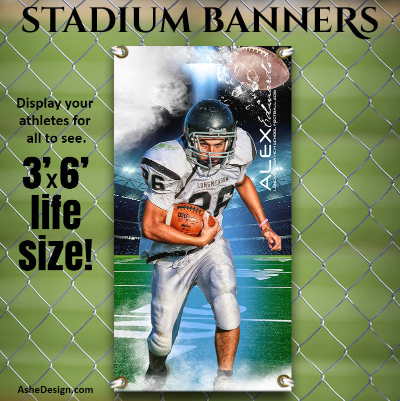 Ashe Design | 3'x6' Amped Stadium Banner | Full Steam Football