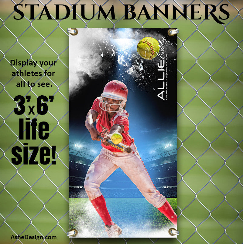 Ashe Design | 3'x6' Amped Stadium Banner | Full Steam Softball