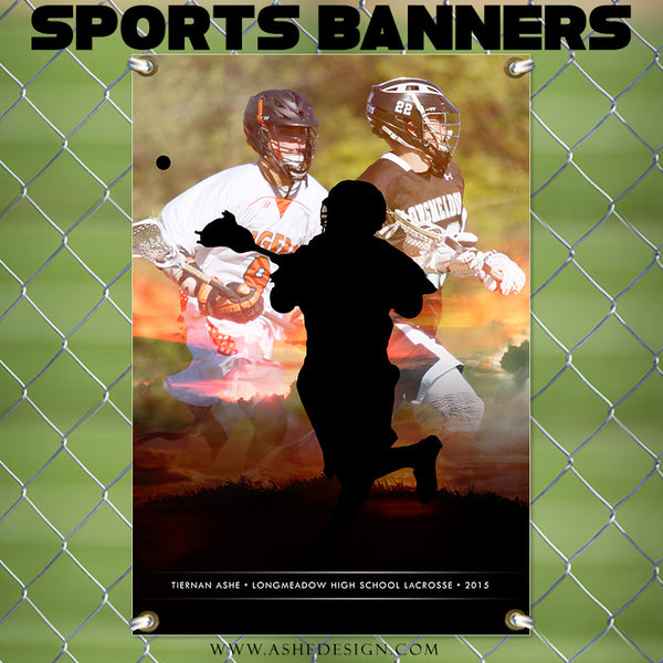 Amped Sports Banner | Sunset Silhouette lax