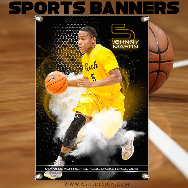 Ashe Design | Photoshop Templates | 2x3 Sports Banner | Basketball