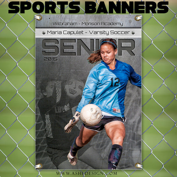 Amped Sports Banner 24x36 | Center Of Attention Engraved Metal soccer