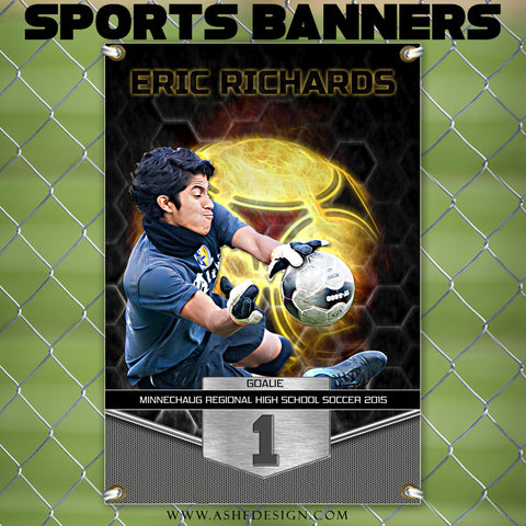 Amped Sports Banner 24x36 | Great Balls Of Fire Soccer