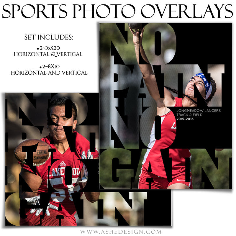 Photoshop Sports Photo Overlays | No Pain No Gain