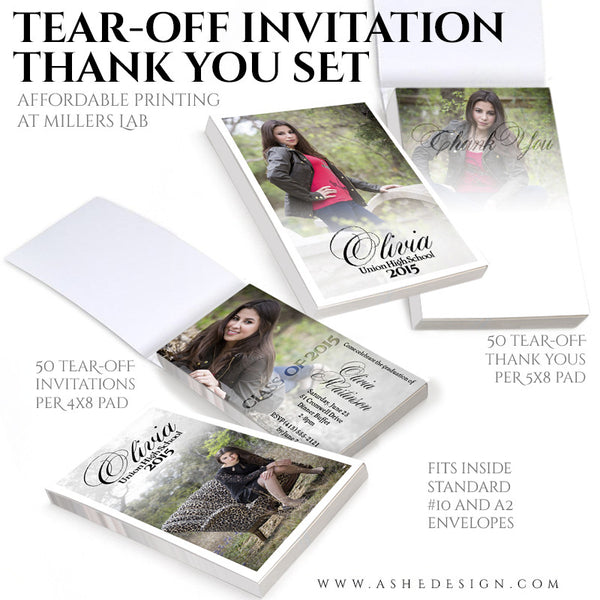 Senior Invitation/Thank You Tear-off Pad Set | Faded invite