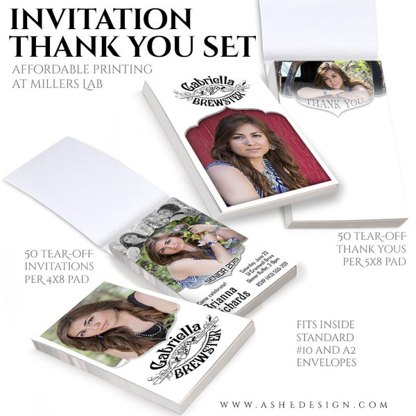 Senior Invitation/Thank You Tear-off Pad Set | Gabriella