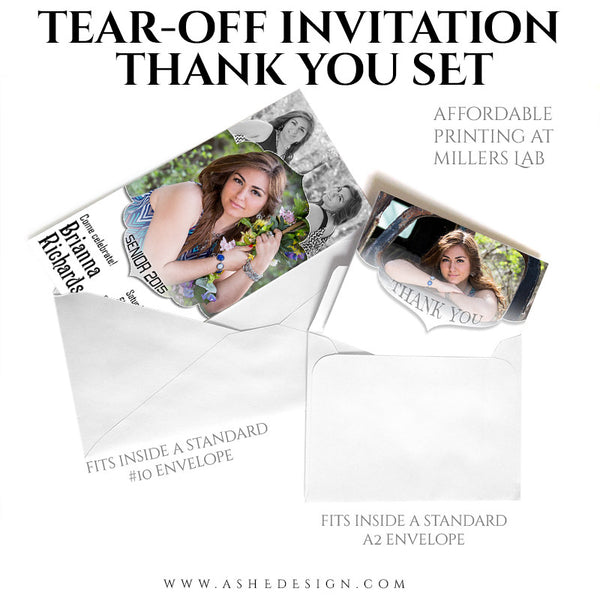 Senior Invitation/Thank You Tear-off Pad Set | Gabriella example