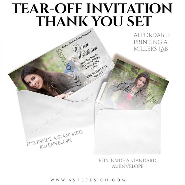 Senior Invitation/Thank You Tear-off Pad Set | Faded thanks