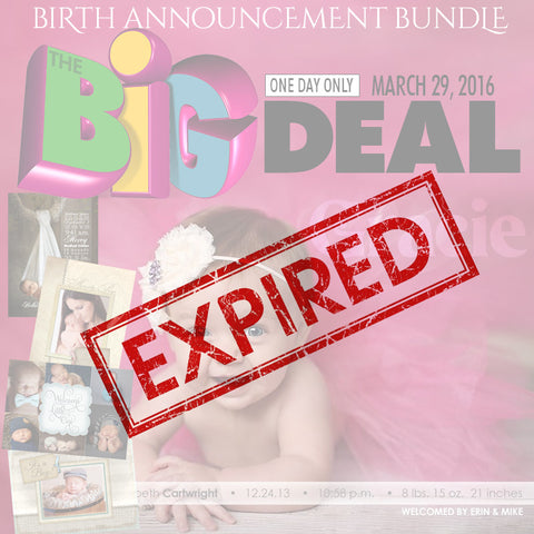 Ashe Design | Big Deal | 80% Off Birth Announcements exp