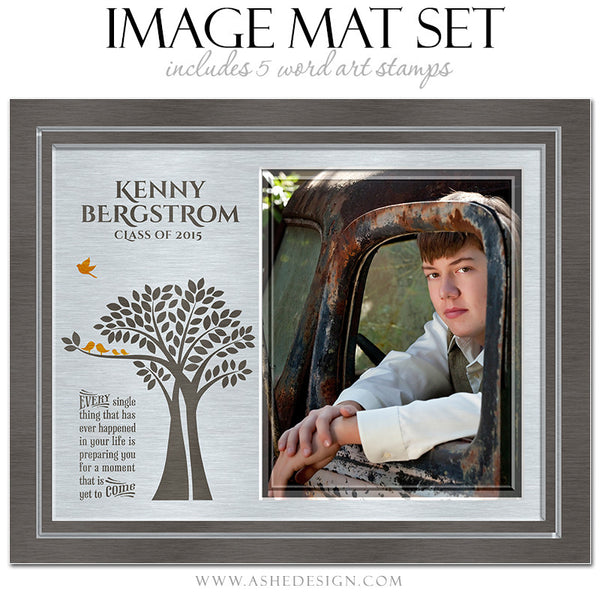 Word Art Image Mat Set 8x10 & 16x20 | Tree Of Life Senior Brushed Metal2