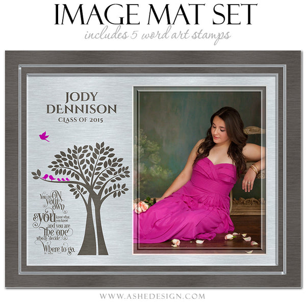 Word Art Image Mat Set 8x10 & 16x20 | Tree Of Life Senior Brushed Metal3