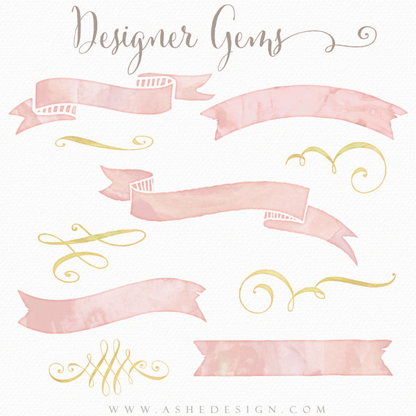 Designer Gems Photo Overlays | Watercolor Ribbons & Swirls