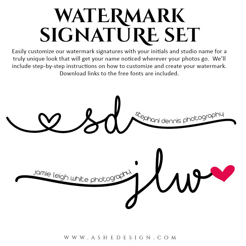 Photoshop Word Art | Watermark Signature Doodles full set
