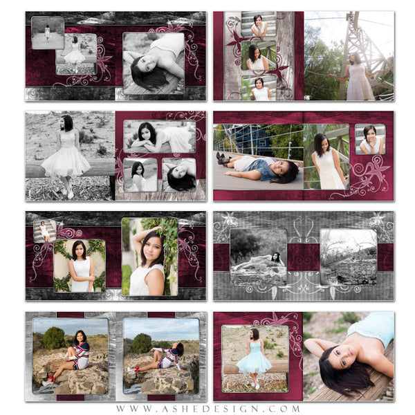 Steel Magnolia 10x10 Photo Book Template Pages