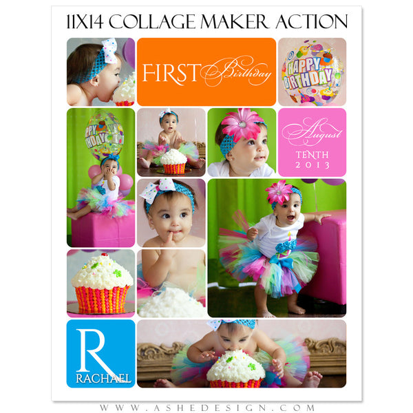 Photoshop Action |11x14 Vertical Rounded Corner Collage Maker