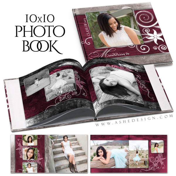 Senior Girl 10x10 Photo Book | Steel Magnolia open book