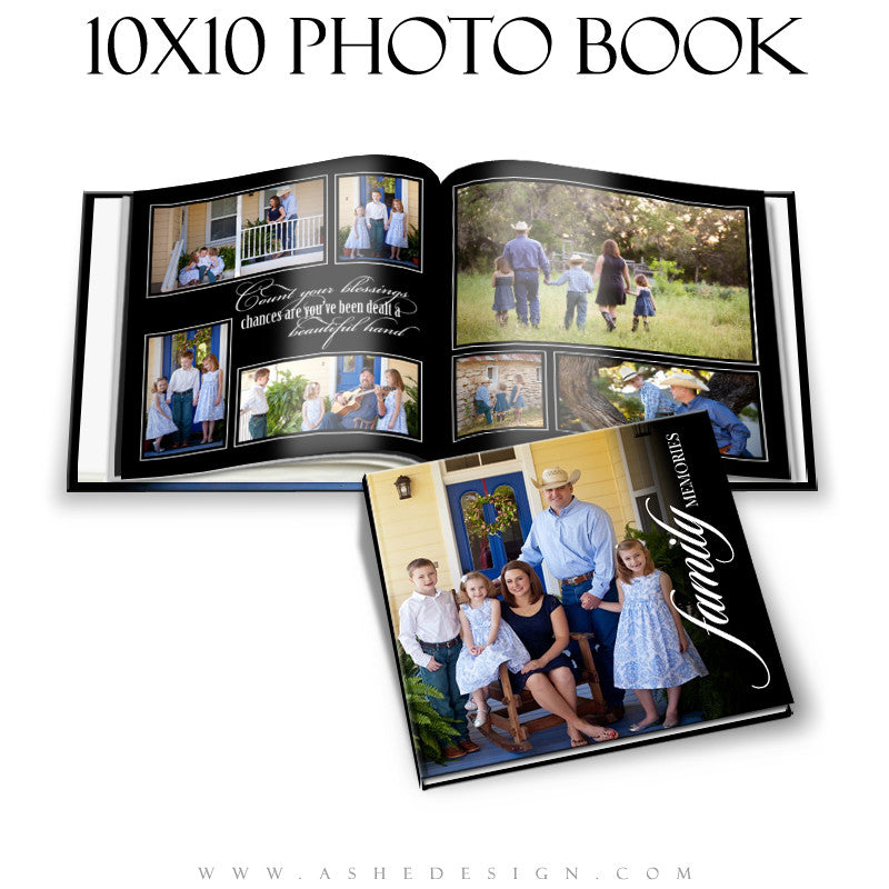Classic Black 10x10 Photo Book open book web display