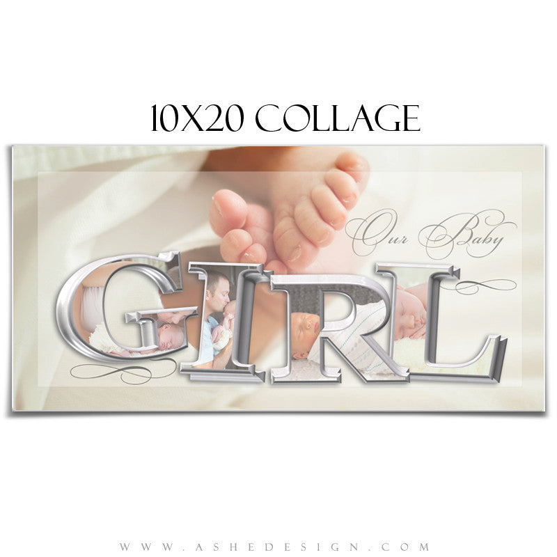 It's A Girl 3D Collage 10x20 web display