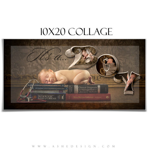 It's A Boy 3D - 3D Word Collage 10x20 web display