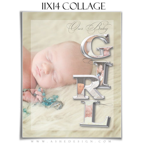 It's A Girl 3D Collage 11x14 web display