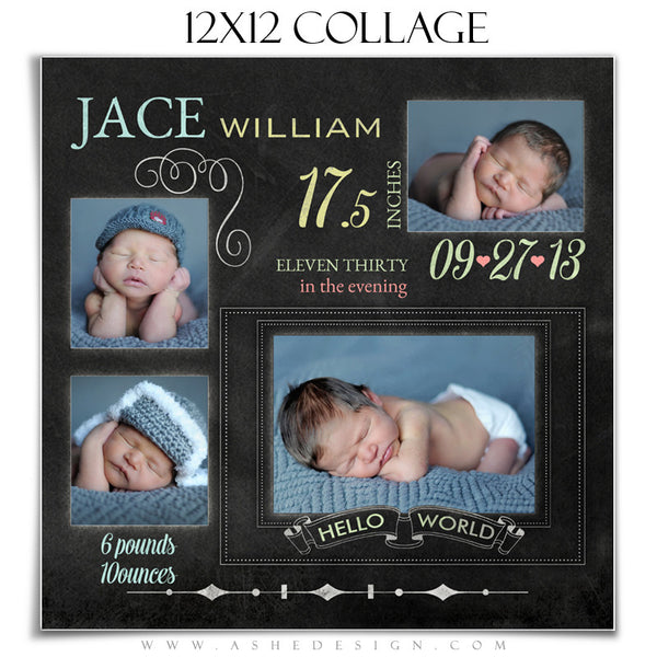 Chalkboard Babies 12x12 Collage Templates for Photographers