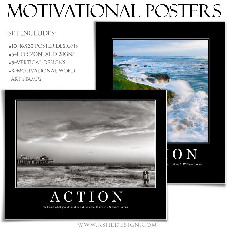 poster set 16x20 motivational series set 6 ashedesign