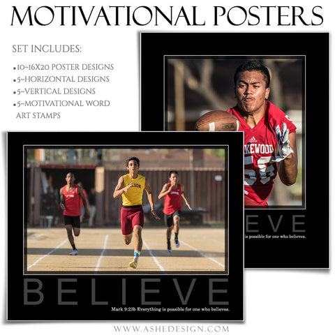 Sports Poster Templates | Motivational Set 10 BELIEVE