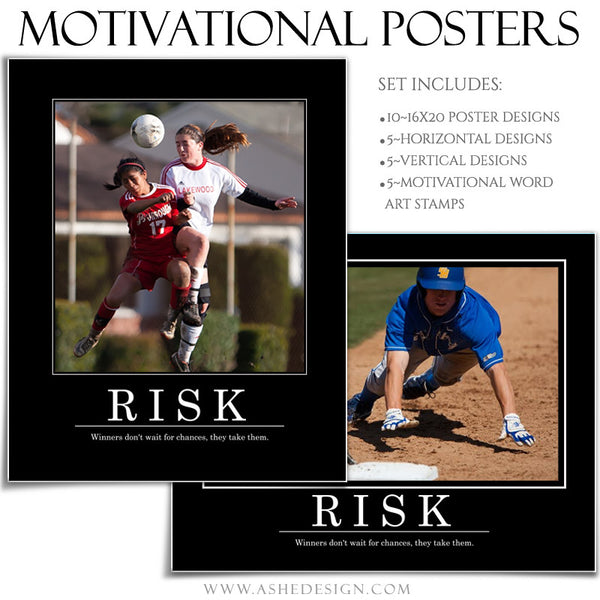 Poster Photography Templates | Motivational Set 6 risk