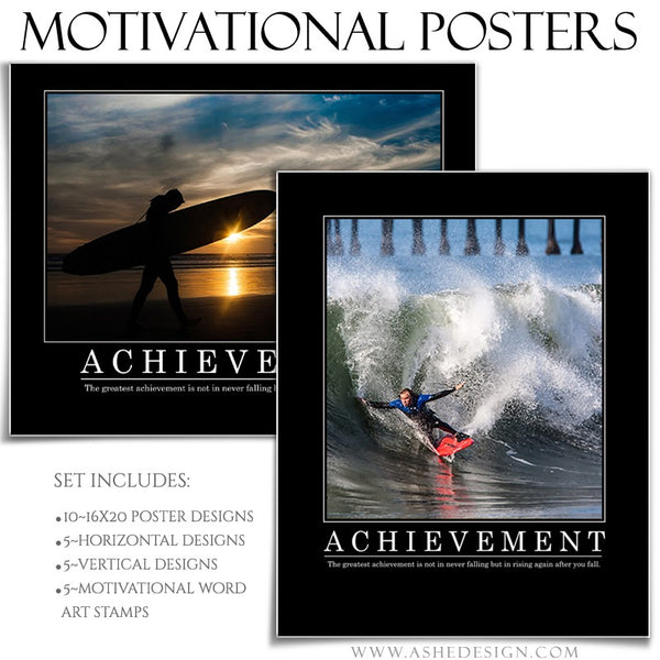 Ashe Design | 16x20 Poster Set | Motivational Series Set 5