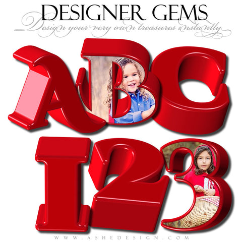 Designer Gems - 3D Alphabet - Red Hot Love