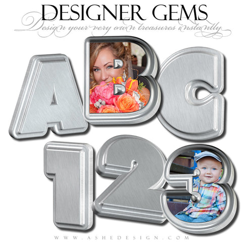 Designer Gems - 3D Alphabet - Stainless Steel web display