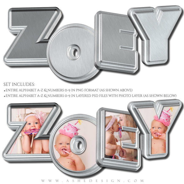 Designer Gems - 3D Alphabet - Stainless Steel example web display