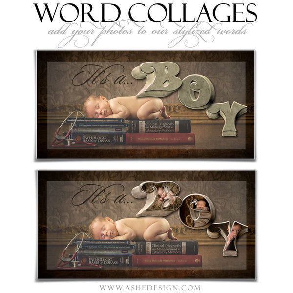 It's A Boy 3D Word Collage 10x20 web display