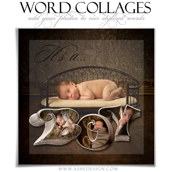 It's A Boy 3D Word Collage 12x12 web display