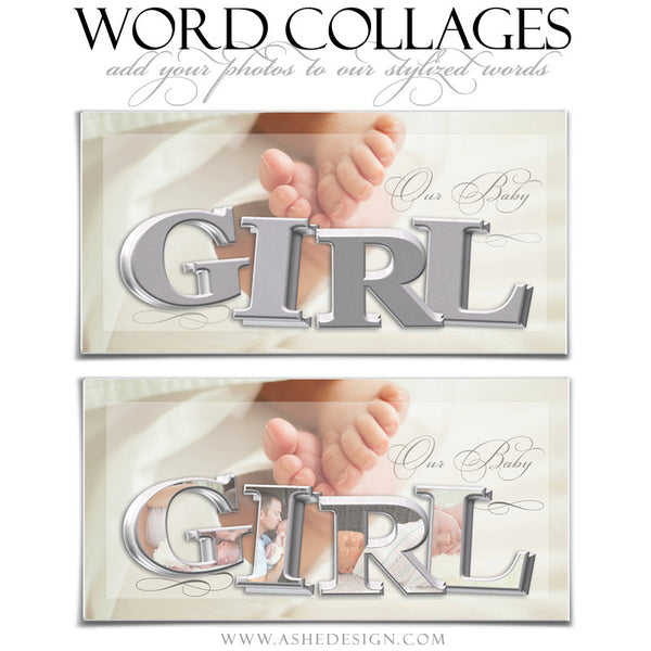 It's A Girl 3D Word Collage 10x20 web display