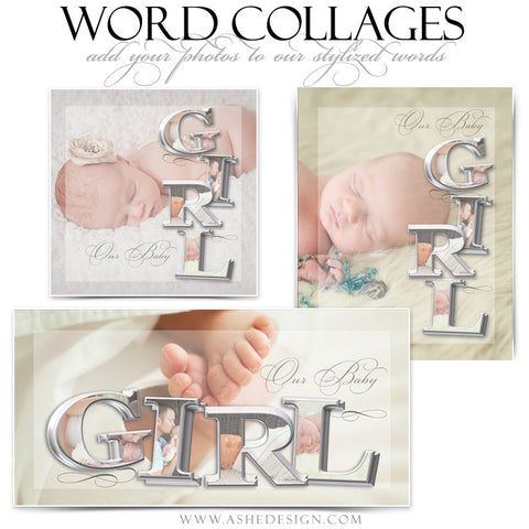 It's A Girl 3D Word Collage Set web display
