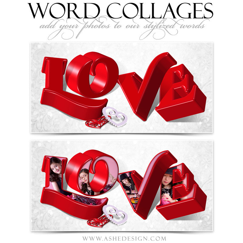 Love 3D Word Collage 10x20 web display