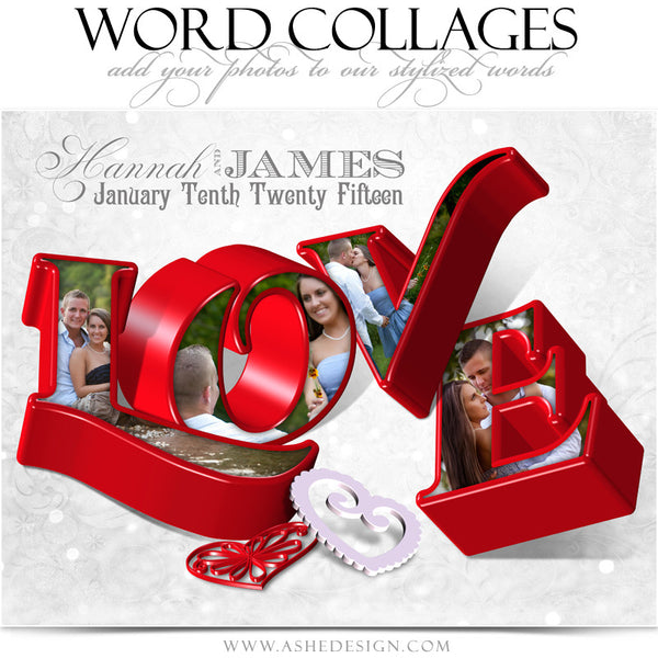 Love 3D Word Collage 11x14 web display