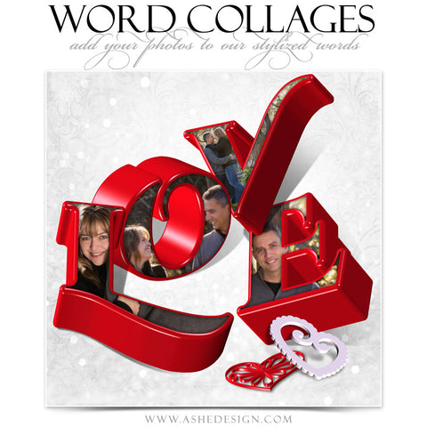 Love 3D Word Collage 12x12 web display