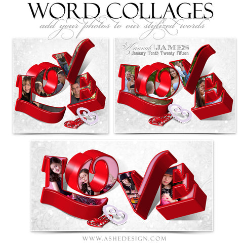 Love 3D Word Collage Set web display