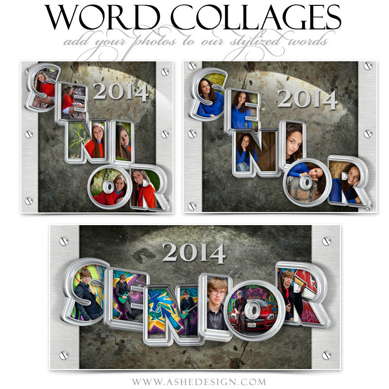 Senior Metal 3D Word Collage Set web display