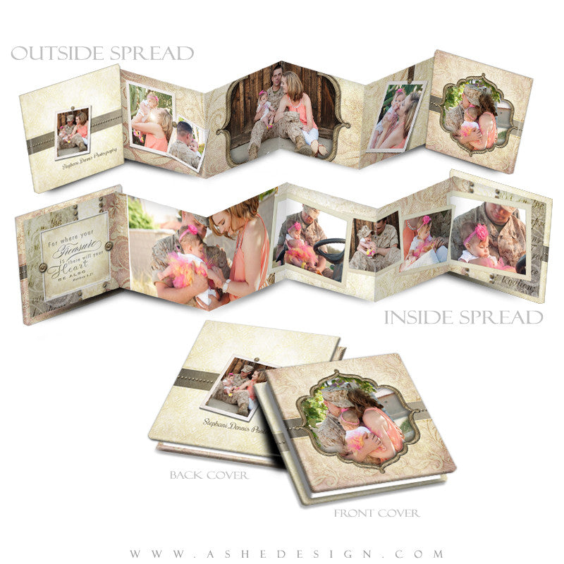 Ashe Design | Photoshop Template |3x3 Accordion Mini Photo Book |  Victorian Garden