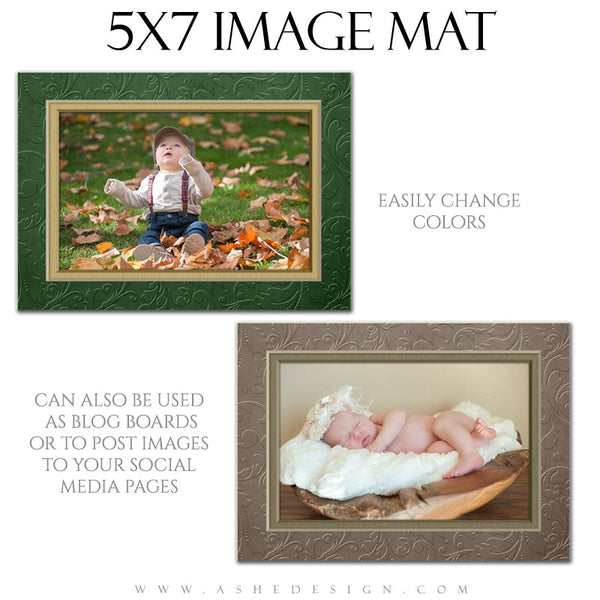 Image Mat Set - 5x7 & 8x10 | Embossed Swirls 5x7