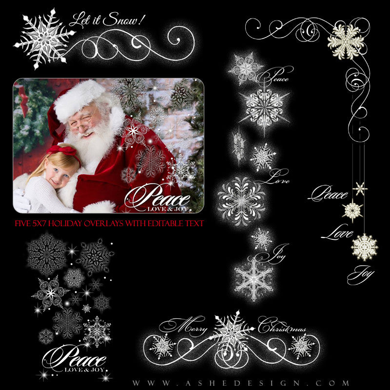 Designer Gems | 5x7 Holiday Overlays Let It Snow full set