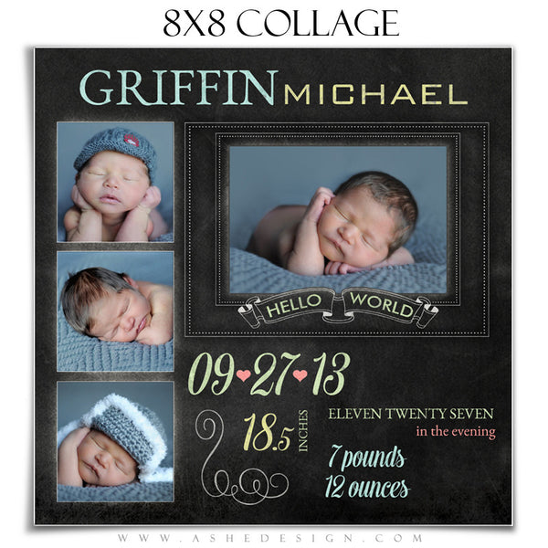 Chalkboard Babies 8x8 Collage Templates for Photographers