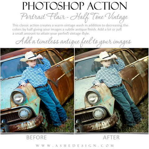Photoshop Action | Portrait Flair - Half Tone Vintage 1