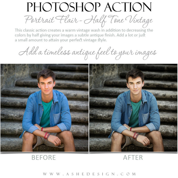 Photoshop Action | Portrait Flair - Half Tone Vintage 4
