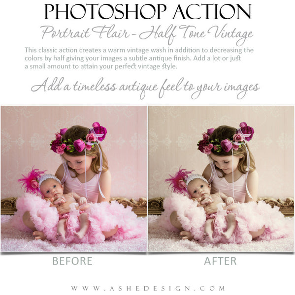 Photoshop Action | Portrait Flair - Half Tone Vintage 5