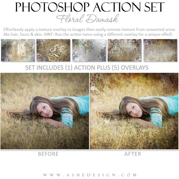 Photoshop Action | Overlays - Floral Damask example 1