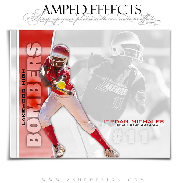 Ashe Design | Amped Effects Sports Templates | Double Take Softball web display